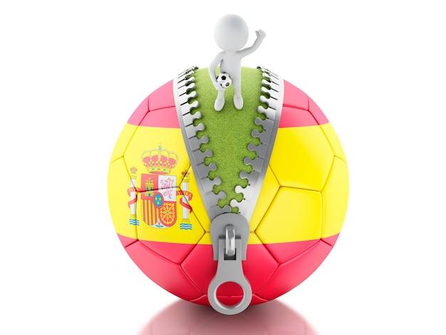 スペインのサッカーボールを持つ3d白人