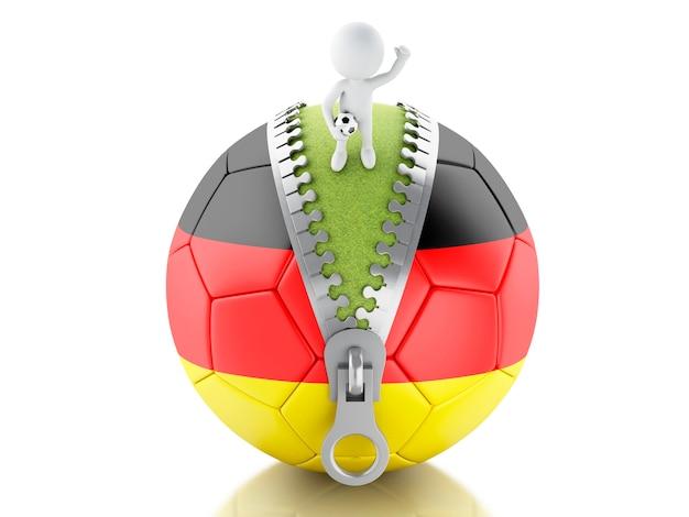 ドイツのサッカーボールを持つ3d白人