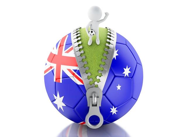 オーストラリアのサッカーボールを持つ3d白人