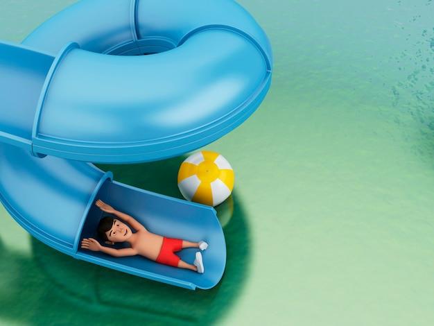 3d水のスライドの男。休日の概念。