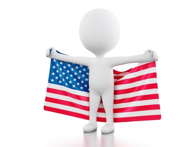 3dアメリカの国旗を持つ白人。