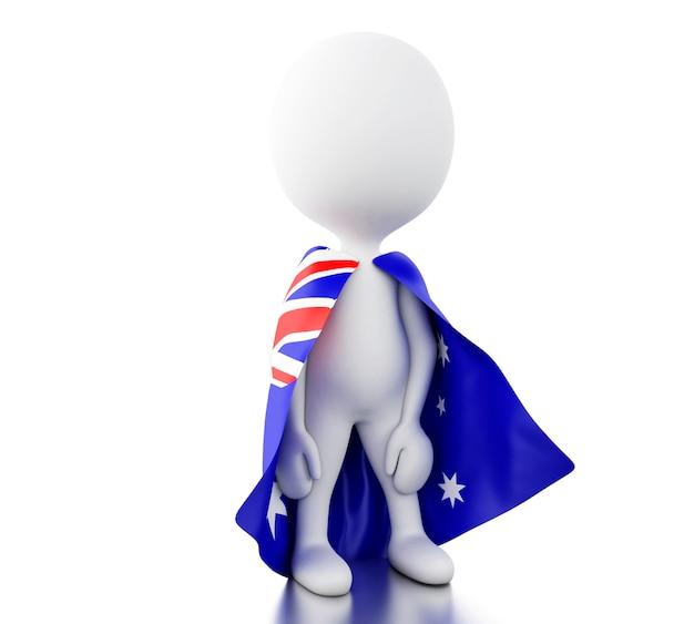 3dオーストラリアの国旗を持つ白人。