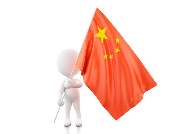 3d中国の国旗を持つ白人。
