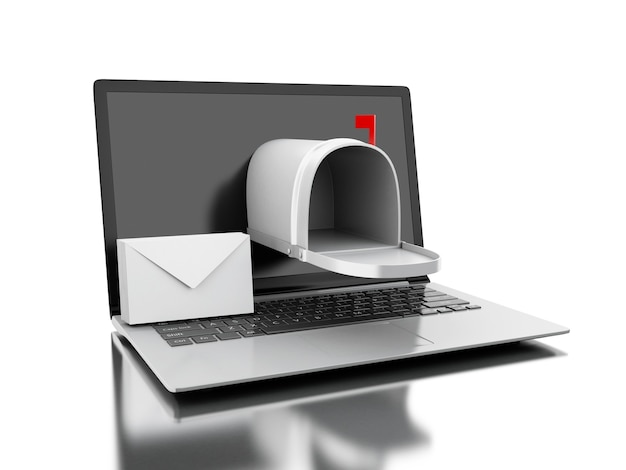 3dコンピュータのラップトップからのメール配信。