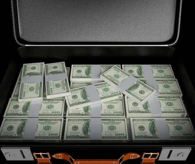 3dイラストレーション。お金がいっぱいのスーツケース