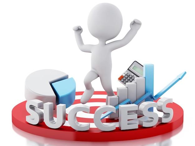 3d、白、人々、ビジネス、成功、赤、ターゲット。