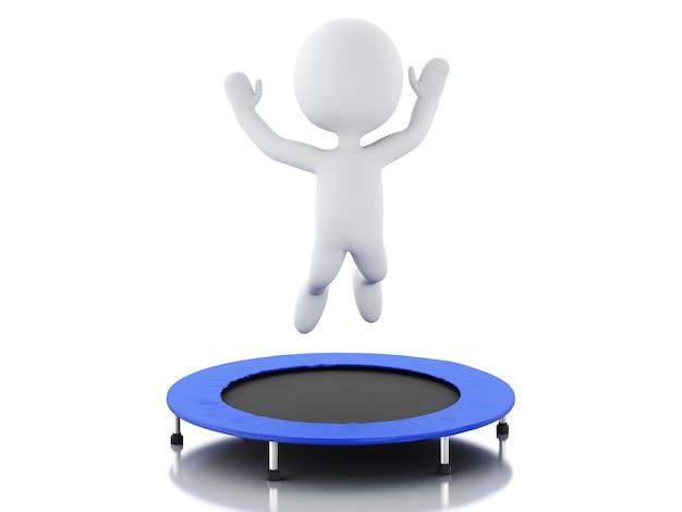 3d белые люди, счастливые прыжки для успеха в батуте.