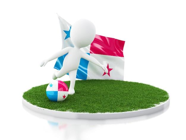パナマの旗とサッカーボールを持つ3d白人
