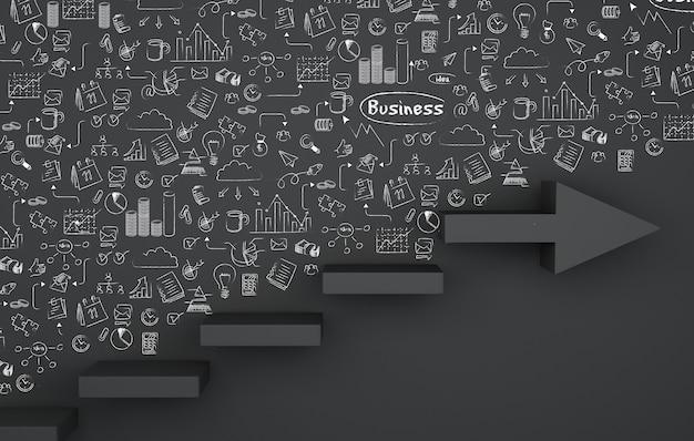 3dビジネススケッチを描くと階段の矢印。