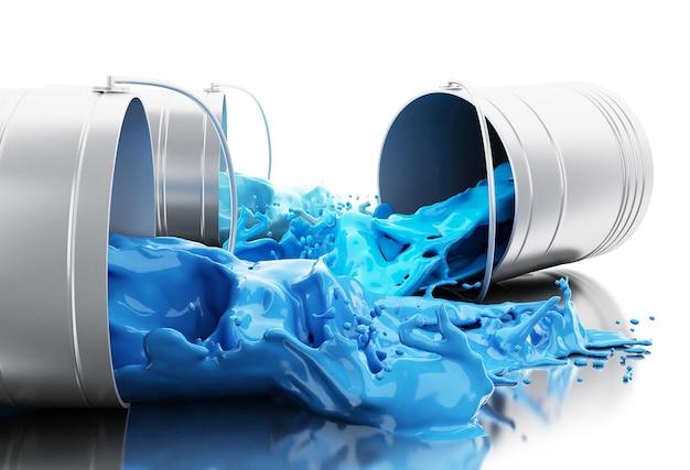 3d голубая краска, выплескивающая из банок