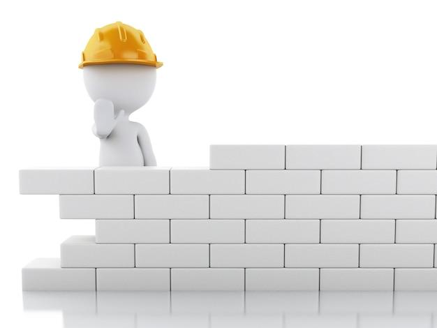 3d белые люди, строящие кирпичную стену.
