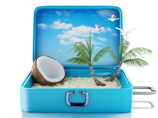 3d райский пляж путешествия чемодан. изолированные белый фон