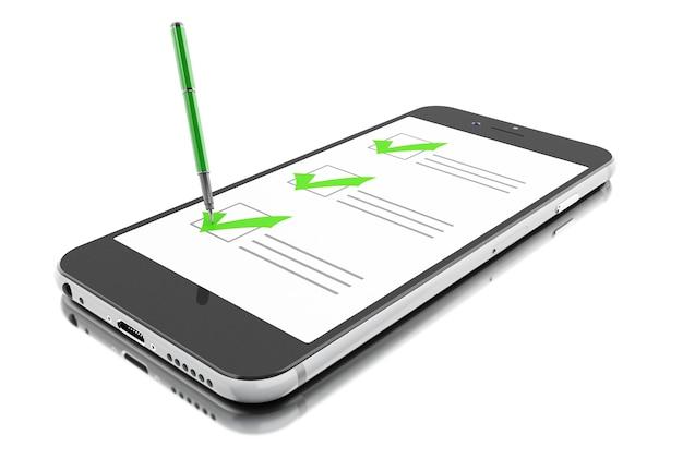 3dマーカーとチェックリスト付きのスマートフォン。オンラインアンケート。
