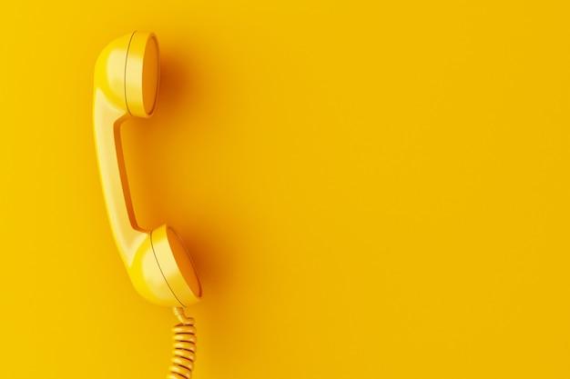 黄色の背景に3d電話レシーバー。