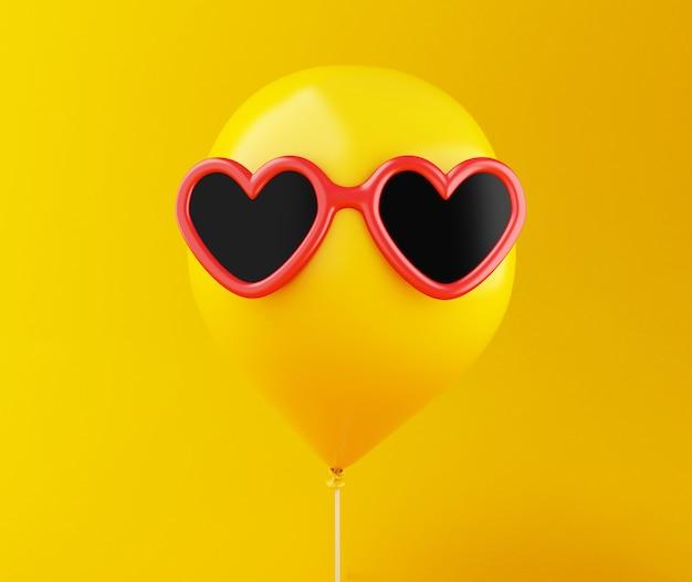 3d желтый шар с очками. минимальный стиль.