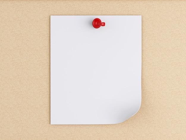 3dポストイットコルクボード上のノート。