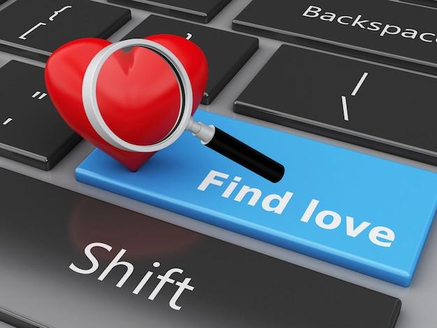 3dコンピュータボタンと心臓のキーボード。