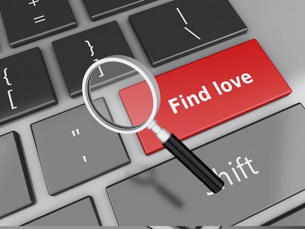 3dコンピュータキーボードと赤い恋愛のボタン。