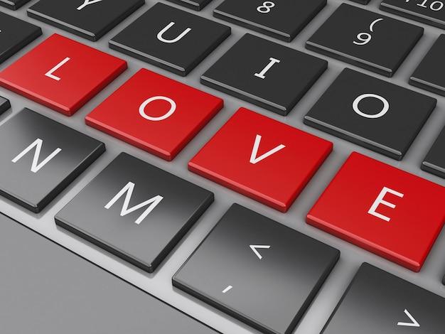 3dコンピュータキーボードとラブボタン。