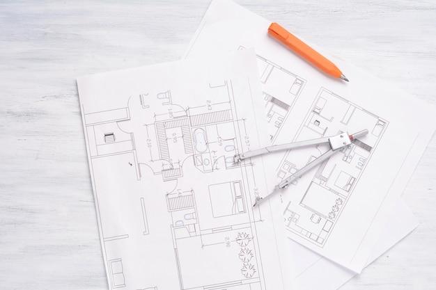 3d鉛筆とコンパスの家計画。
