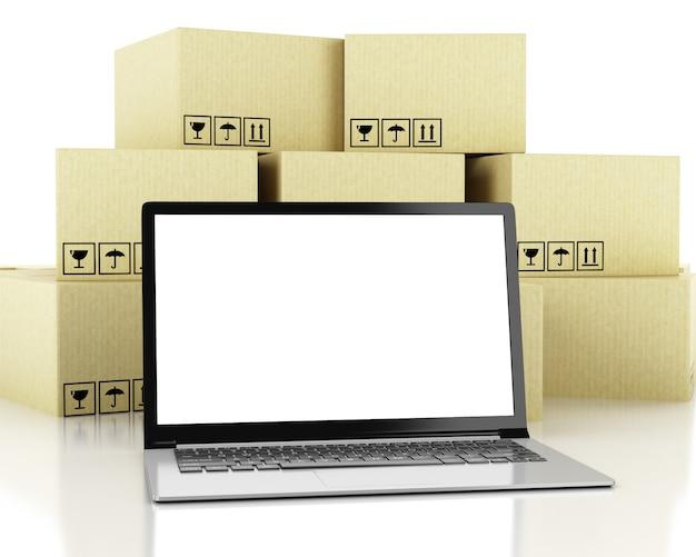 3d иллюстрации. картонные коробки и технологические устройства с пустым экраном.