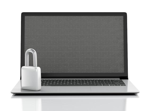 レンガの壁とロックのラップトップ。ファイアウォールとセキュリティの概念3dイリュージョン
