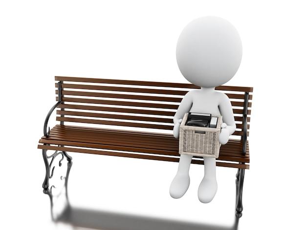 彼のものでベンチに座っている3d白人の人々
