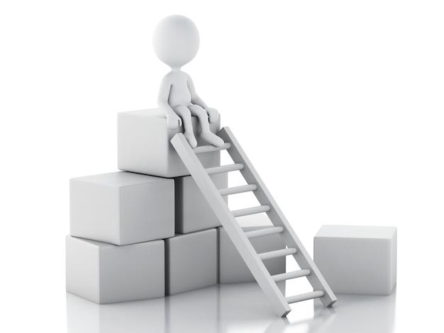 3d白い人がはしごを登って上に行く。