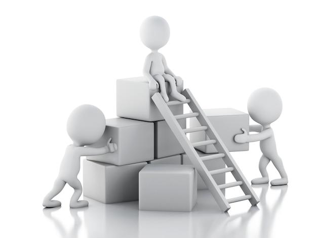3d白人がはしごを登っています。チームワークのコンセプト。