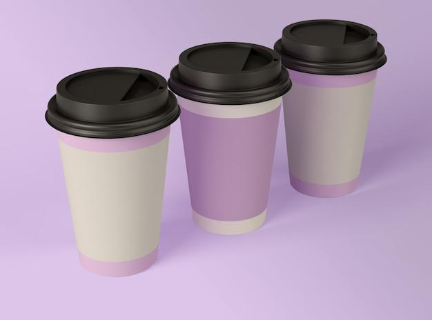 3d иллюстрация чистые бумажные стаканчики.