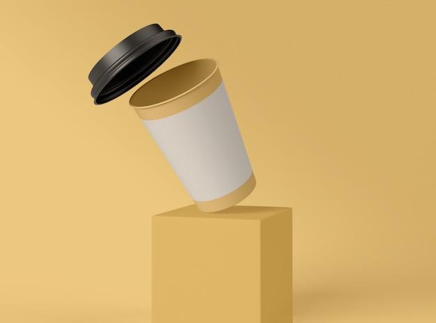 3d иллюстрация пустой бумажный стаканчик.