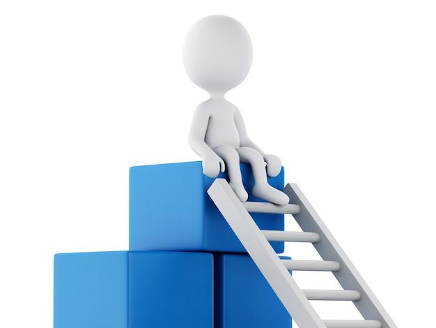 3d白人がはしごを登っています。成功のコンセプト。