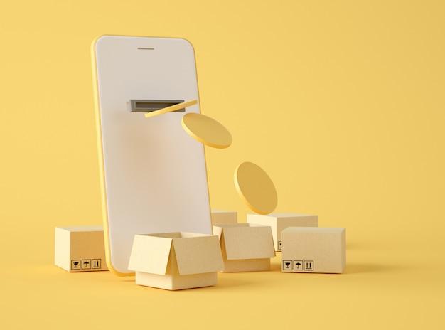 3dイラストレーション。モバイル決済とオンライン注文。