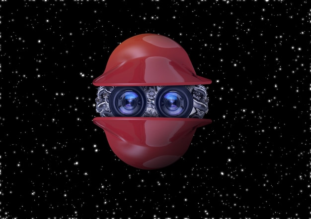 宇宙空間を移動する孤立した赤色のロボット、3dモデリング