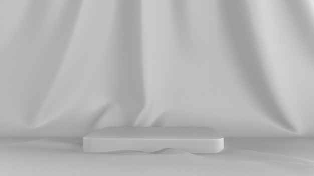 3d представляют абстрактную белую предпосылку. со сценическим представлением и тканью в спину.