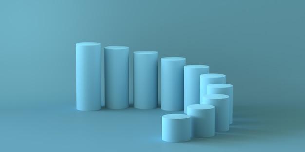 Пустой пастельный синий шаги цилиндра на синем фоне. 3d рендеринг.