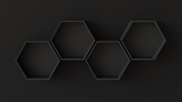 Пустые черные шестиугольники полки на фоне глухой стены. 3d рендеринг.