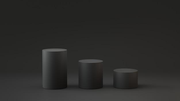 Цилиндр пустой шаги на черном фоне. 3d рендеринг.