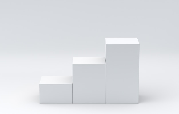 白いキューブボックスは、白い空白の壁の背景を表示してステップします。 3dレンダリング。