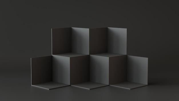 Черные коробки куба с темной предпосылкой стены. 3d рендеринг.