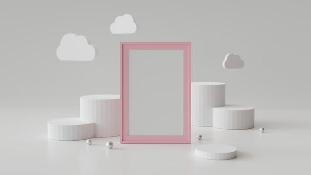 Пустая рамка с цилиндром подиум. абстрактный геометрический фон для отображения или макет. 3d-рендеринг.