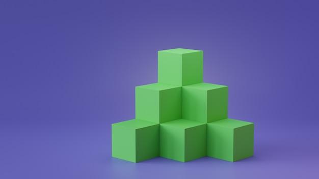 空のキューブボックスの背景は、空白の壁の背景に表示されます。 3dレンダリング
