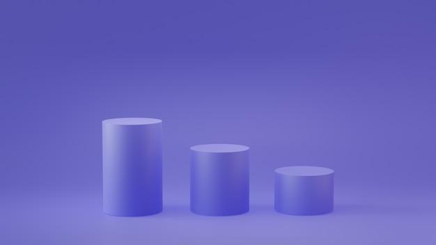 Пустые шаги подиум цилиндра на пустой фон. 3d-рендеринг.