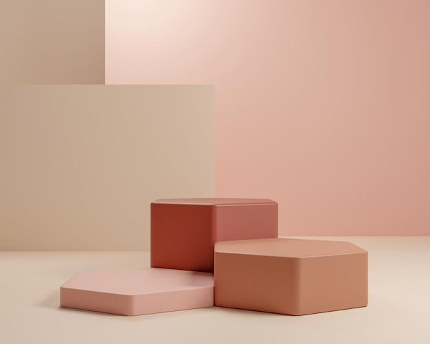 Абстрактная геометрическая форма с минимальным стилем и пастельным цветом. используйте для представлений косметики или продуктов перевод и иллюстрация 3d.