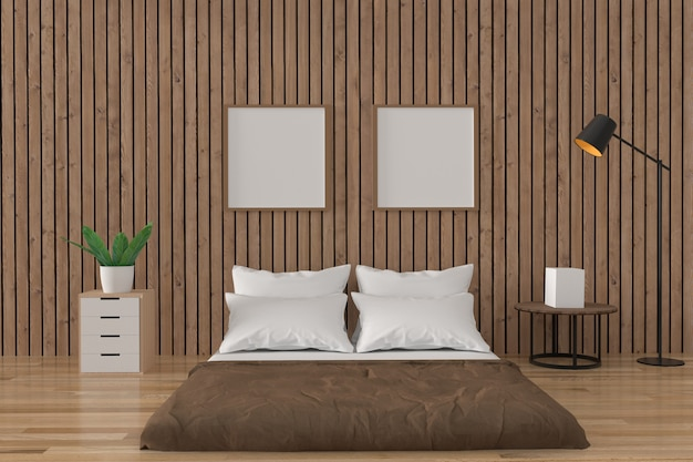 Дизайн интерьера чердака спальни в деревянной комнате в 3d рендеринге