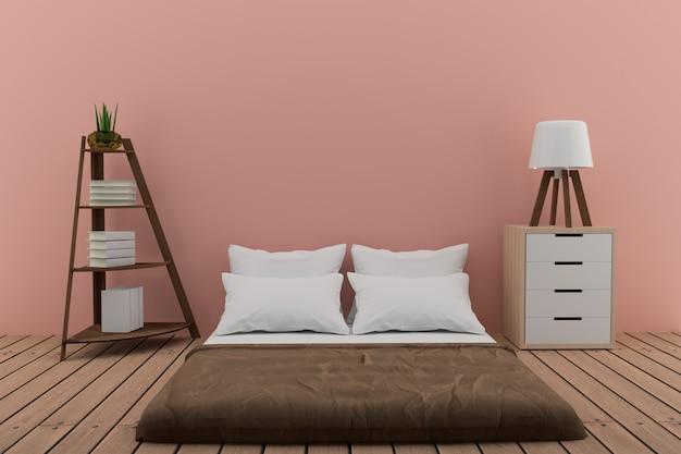 Спальня с книжной полкой с небольшим светильником и шкафом в розовой комнате в 3d-рендеринге