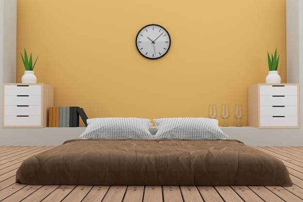 Спальня с отделкой в желтой комнате в 3d визуализации