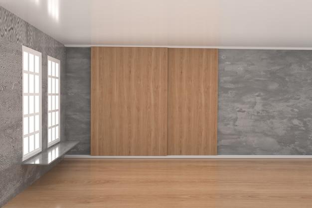 3dレンダリング時の窓とコンクリート壁のある空の部屋