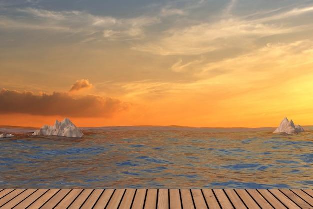 3dレンダリングでの夕日の自然な風景とシービュー
