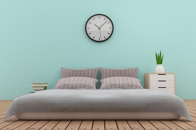 Дизайн интерьера спальни в голубых тонах в 3d рендеринге